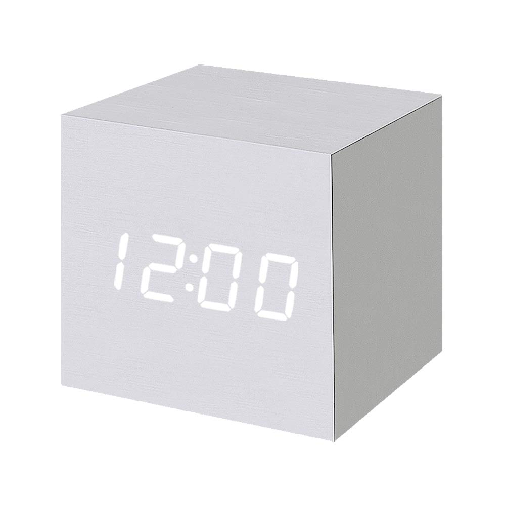 Wood Alarm Clock Digital LED Light Minimalist Mini Cube with Date and Temperature for Travel Kids Bedroom-White