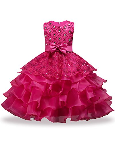 Hot Pink Knee Length Ball Gowns Girls Kids Party Pageant Formal Special Occasion Girl Dress Princess Ruffles Lace Party Weddings Dresses Age of 10 Cute Beauty Cute First Communion Dress (Rose, 150)