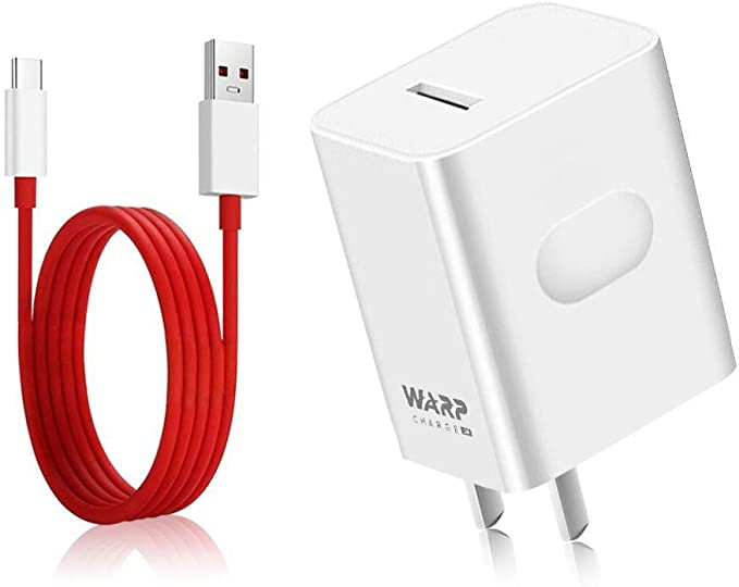 Rexin OnePlus 7 pro Warp Charger, 30W Power Adapter [5V 6A] + OnePlus USB-C Fast Charging Cable 1M / 3.3FT Data Cable for OnePlus7 6T 6 5T 5