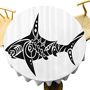Zara Henry Tribal Dust-Proof Tablecloth Shark Tattoo Design in Black and White Under The Sea Wildlife Theme Fish Artwork Kitchen Household Tablecloth 54Inch Round Black White
