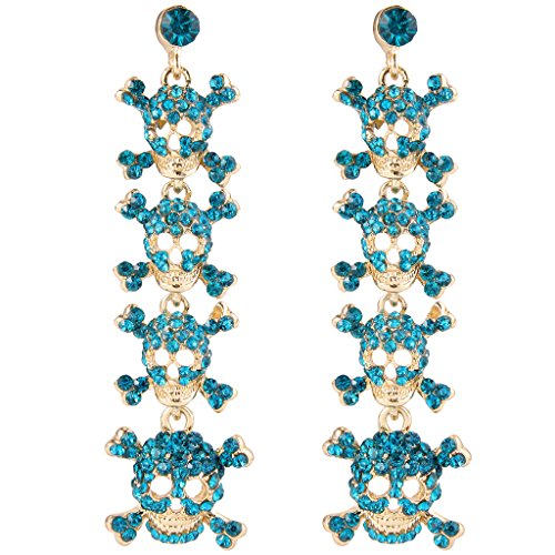 EVER FAITH Austrian Crystal Halloween Skull Crossbones Dangle Earrings Blue Gold-Tone Skull Crossbones Dangle