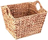 Water Hyacinth Rectangular Wicker Storage Baskets with Cutout Handles, Large