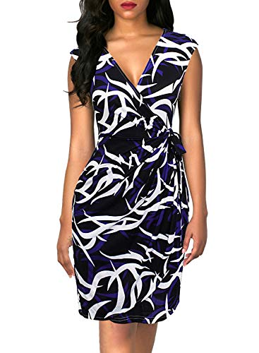 (Berydress Women's Classic Cocktail Party Cap Sleeve Deep V Neck Draped Waist Tie Belt Knee-Length Faux Wrap Dress (XL, 6028-Black Floral))
