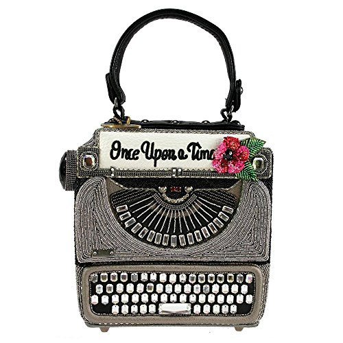 MARY FRANCES Just My Type Typewriter Beaded Top-Handle Handbag