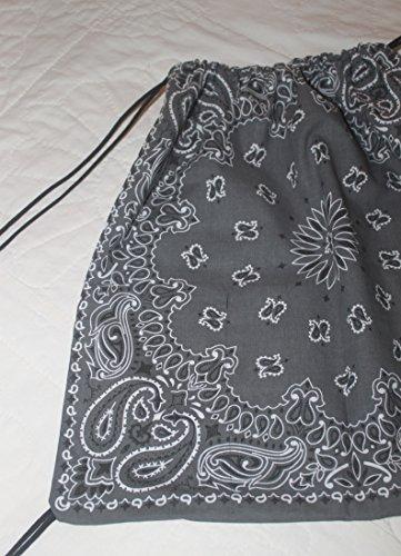 Bandana Drawstring Backpack made with actual Bandanas. Charcoal Grey.