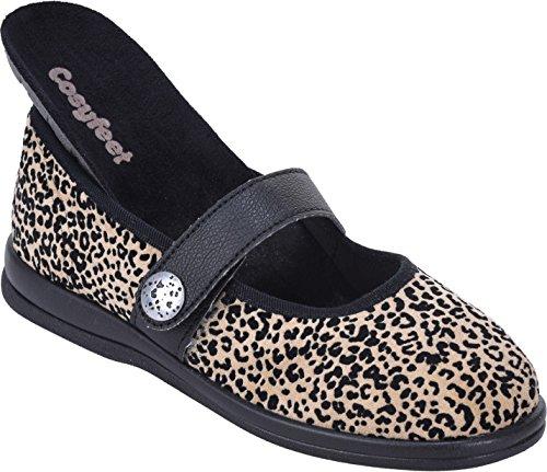 Koryl Embossed Leopard Fabric Roomy Width Shoes Fabric Extra Fitting Eeeee Cosyfeet gqzFdHxq