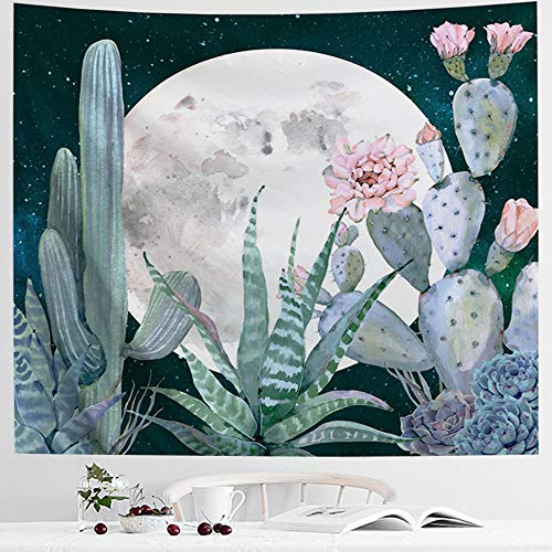 IcosaMro Cactus Tapestry Wall Hanging, Moon Cacti Desert Landscape Scenery Nature Wall Art Hippie Bohemian Home Decor for Girls Boys Bedroom, Dorm, College, Living Room, 51x60, Green