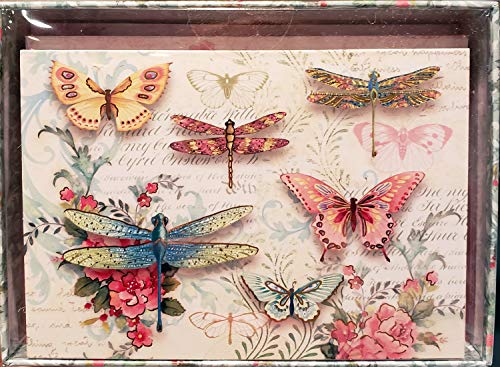 Punch Studio 12 Note Cards Butterflies and Dragonflies Gold Foil 60737