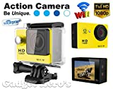 Gadget Hero's 12MP HD 1080P Sport Action Waterproof Wifi Camera With 2 Inch LCD CMOS Sensor With Multiple Accessories. Yellow Color. Compatible with Go Pro Camera accessories.
