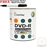 Smartbuy 100-disc 4.7GB/120min 16x DVD-R White Thermal Hub Printable Blank Media Disc + Black Permanent Marker