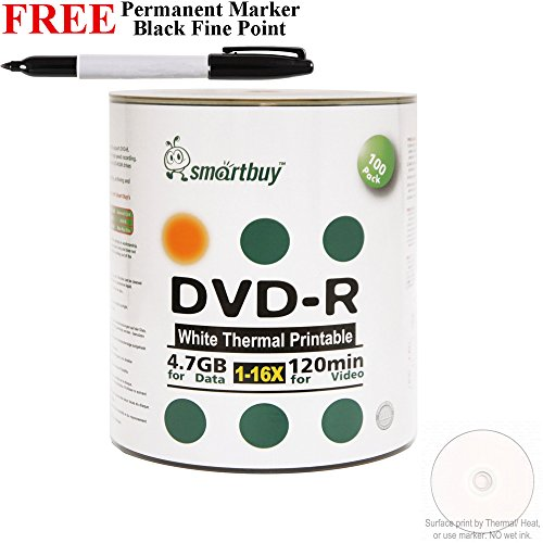 Smartbuy 100-disc 4.7GB/120min 16x DVD-R White Thermal Hub Printable Blank Media Disc + Black Permanent Marker by Smartbuy