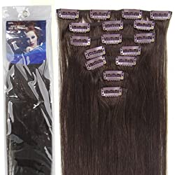 20''7pcs Fashional Clips in Remy Human Hair Extensions 24 Colors for Women Beauty Hot Sale (#02-dark brown) by lilu