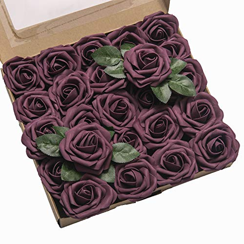 Ling's moment Artificial Flowers 25pcs Real Looking Plum Purple Fake Roses w/Stem for DIY Wedding Bouquets Centerpieces Bridal Shower Party Home Decorations