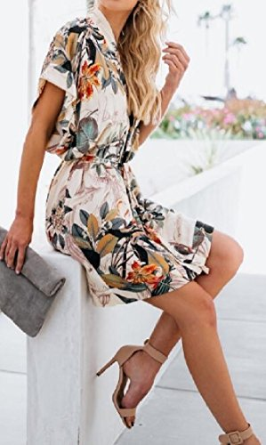 Beach Jaycargogo Women's Casual V 1 Summer Floral Dress Mini Neck Print xpYxgP