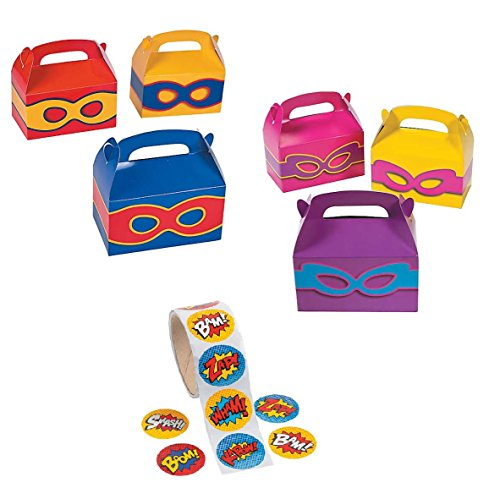 (24 - Superhero Boys and Girls Party Favors Treat Boxes With Superhero Stickers Theme Birthday Set)