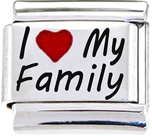 Stylysh Charms Family I Love My Family RH Laser Italian 9mm Link FA016 - Family Link Charms