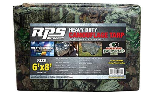 RPS Outdoors SI-9000MO Mossy Oak Camouflage Heavy Duty 5-Layer Waterproof Tarp, 6' x ()