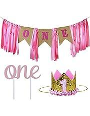 ZITA ELEMENT 1st Birthday Girl Decorations Baby Party Supplies Banner Crown Pink