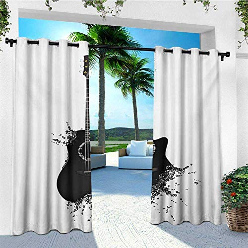 leinuoyi Guitar, Outdoor Curtain Waterproof, Monochrome Musical Instrument with Strings Acoustic Color Splashes Creative Outlet, for Gazebo W72 x L108 Inch Black White ()