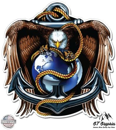 Car Gifts for Sailors Wall or Bike 2IN Perfect for Your Kitchen Navy Decals Show Your Pride with our DOUBLE FLAG EAGLE NAVY SHIELD Patriotic Decals