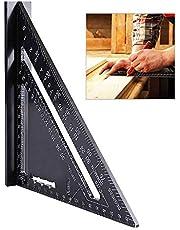 Golrisen Metric/Imperial liniaal goniometer driehoekig gereedschap met oxide-afwerking aanslaghoek van aluminiumlegering voor ingenieurs, timmeranschap, frame, dakdekens, bouwen, zwart