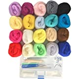 Misscrafts 5g Felting Rolls 20 Colors Wool Roving Fiber Needle Felting Supplies (20 Colors / 5g)