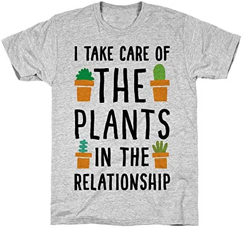 LookHUMAN I Take Care of The Plants in The Relationship Athletic Gray Men's Cotton Tee