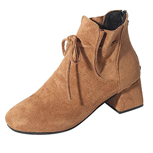 COPPEN Women Boots Back Zipper Suede Ankle Bow Fashion High Heel ()