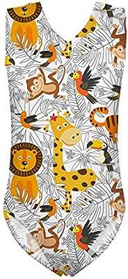 UNICEU Girls One Piece Cute Cartoon Animal Zoo Print Swimsuit V Neck Tank Swimwear Bathing Suit 3Y-14Y