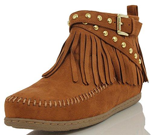 Soda Women's Dahlia Faux Suede Moccasin Fringe Wedge Ankle Bootie,Hazel,6 ()