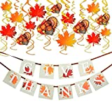 """36PCS Thanksgiving Decorations with """"GIVE THANKS"""" Banner and Turkey Maple Leaves Great Thanksgiving Party Supplies"""