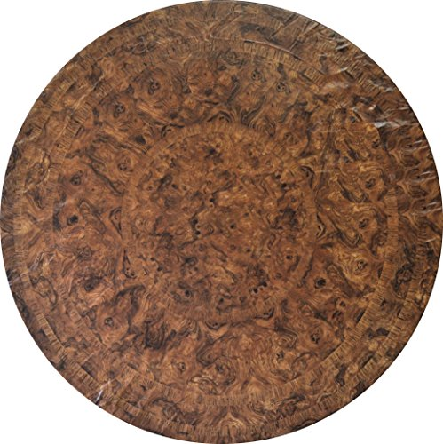 (Fitted Vinyl Table Cloth Round With Elastic Edge - Fits 44 Inch To 48 Inch Tables (Brown Maple))
