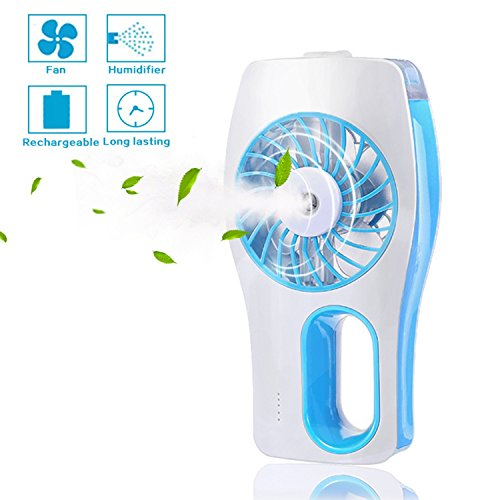 Portable Handheld USB Mini Misting Fan with Personal Cooling Humidifier, Rechargeable Battery and Water Tank- Misting Fan Portable, Personal Cooling Fan for Home Office School Travel, Bule