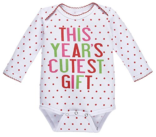 - Ganz This Year's Cutest Gift Baby Girl Long Sleeve Holiday One Piece (0-6 Months)