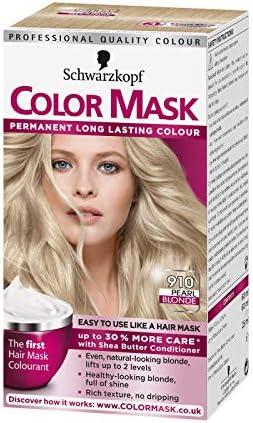 Color Mask Schwarzkopf - Tinte permanente para el cabello, rubio perlado (910)