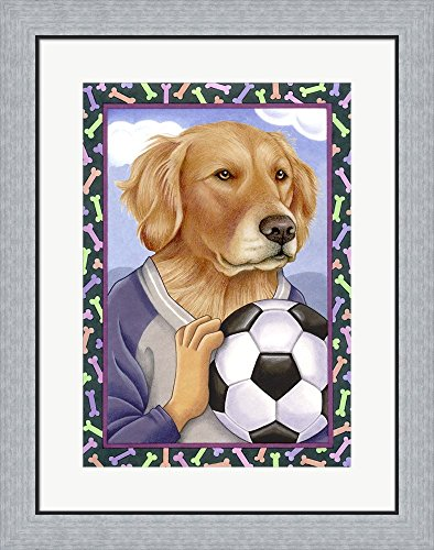 Golden Retriever Soccer Ball by Tomoyo Pitcher Framed Art Print Wall Picture, Flat Silver Frame, 22 x 28 inches by Great Art Now