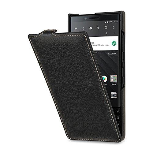 StilGut BlackBerry Key2 Case. Slim Vertical Leather Flip Cover for Key2, Black