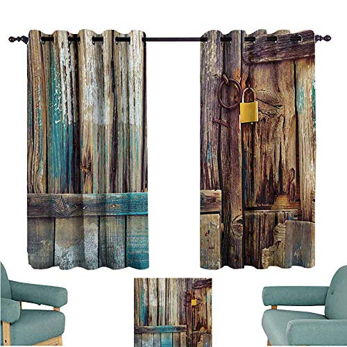 - DONEECKL Warm Curtain Rustic Aged Shed Door Backdrop with Color Details Country Living Exterior Pastoral Mansion Image Noise Reducing Curtain W72 xL45 Brown