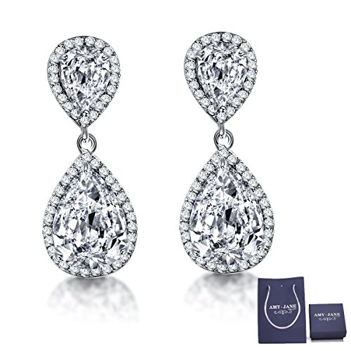 Teardrop Dangle Earrings for Wedding - AMYJANE Silver Cubic Zirconia Crystal cz Drop Earrings Womens Bridal Jewelry for Bride Bridesmaids Mother of Bride