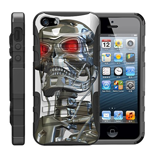 TurtleArmor | Compatible for Apple iPhone SE Case | iPhone 5/5s Case [Hyper Shock] Rugged Hybrid Hard Shell Kickstand Fitted Holster Clip Military War Robot Android Design - Terminator Robot