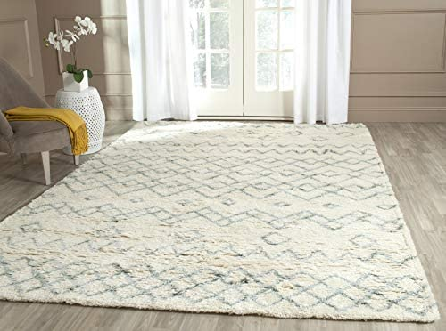 Safavieh Casablanca Shag Collection CSB806A Handmade Ivory and Blue Premium Wool Cotton Area Rug 10' x 14'