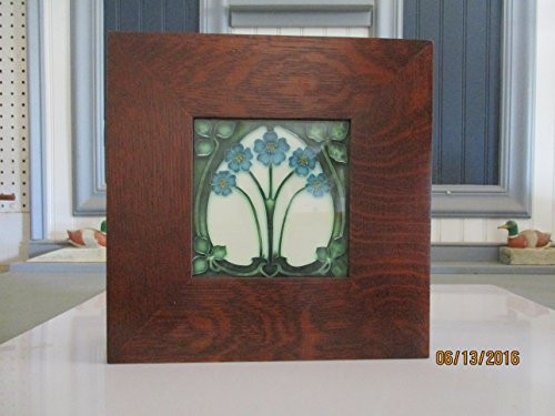 """Arts & Crafts Mission Quarter Sawn Oak 3"""" wide 6"""" X 6"""" Ceramic Tile and Frame Handcrafted/ Handmade from Augie's Woodworking"""