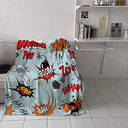 Khaki home Children's Blanket Couch Digital Printing Blanket (30 by 50 Inch,1950s Decor Collection,Comic Book Explosion Expression Thoughts Noise in Text Dynamite Cartoon Image,Orange Blue Red - Dynamites Seed
