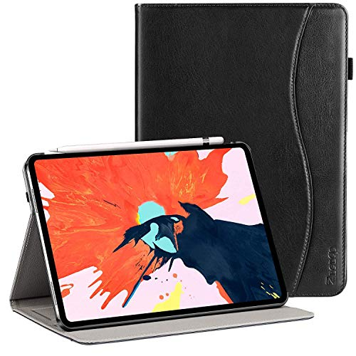 Ztotop Case for iPad Pro 11 Inch 2018 Release, Premium Leather Slim Multiple Viewing Angles Folding Stand Folio Cover with Auto Wake/Sleep (Support 2nd Gen Apple Pencil Wireless Charging), Black