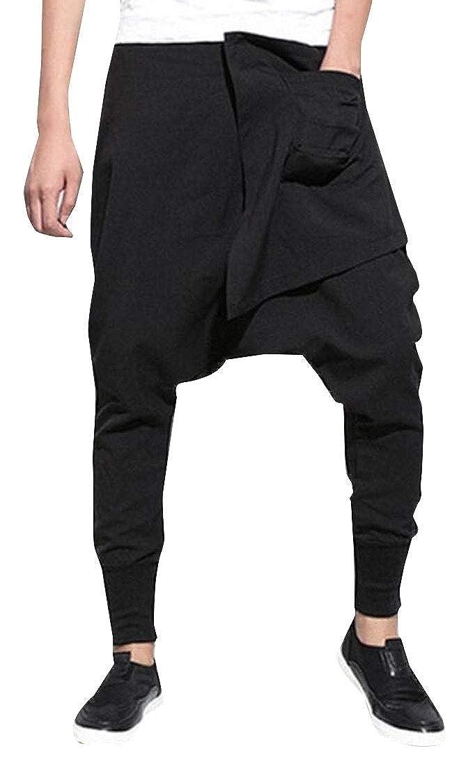 Alion Men Fashion Plus Size Baggy Elastic Waist Harem Joggers Pants