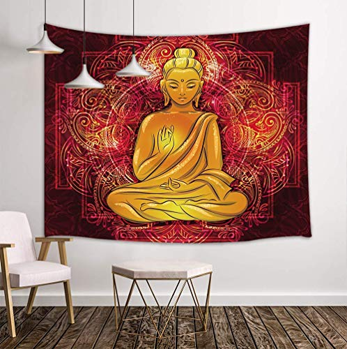 NYMB Mandala Tapestry Wall Hanging, Golden Sculpture Sitting Lotus 3D Flowers Spa, Tapestries Art Bedroom Living Room Dorm 71 X 60 Inches Wall Blankets Home Decor ()