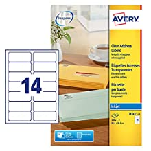 Avery J8563-10 - Etiquetas de envío para impresión, transparente