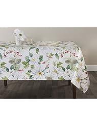 "Benson Mills Winter Poinsettia Herringbone Print Christmas Tablecloths (White-Poinsettia, 60"" X 84"" Rectangular)"