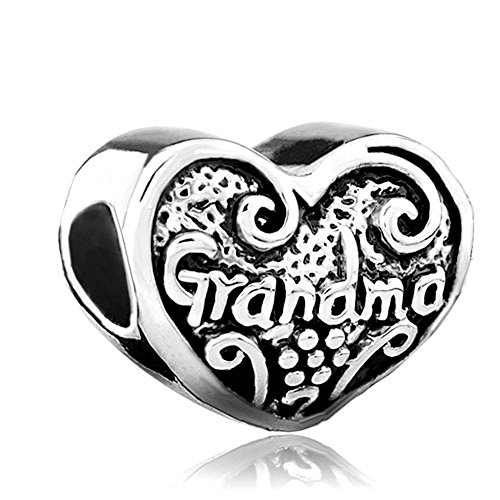 LovelyJewelry Love Heart Grandma Grandmother Family Charm Beads For Bracelet (Special Charm Heart Grandma)