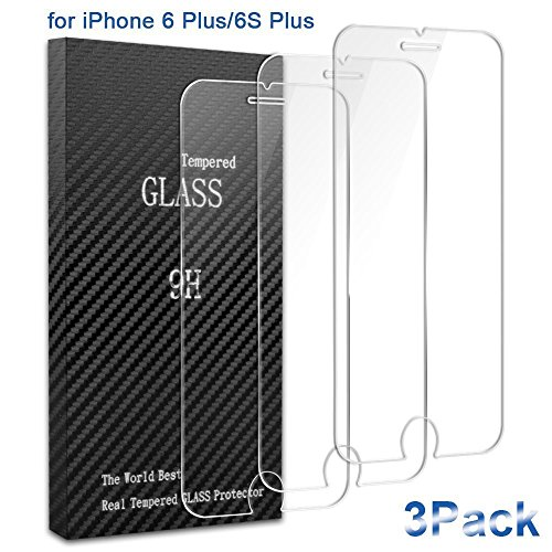 iPhone 6 Plus/6s Plus/7 Plus Screen Protector,AOFU Tempered Glass 3D Touch Compatible,9H Hardness,Bubble Free (3Pack )